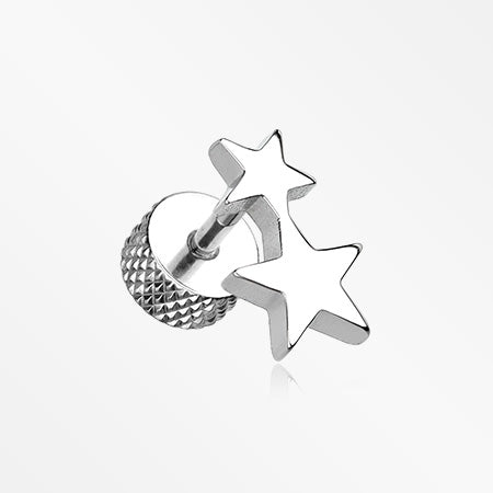 A Pair of Double Star Steel Fake Plug Earring-Steel