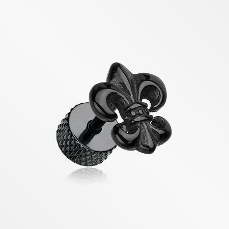A Pair of Blackline Fleur De Lis Fake Plug Earring-Black