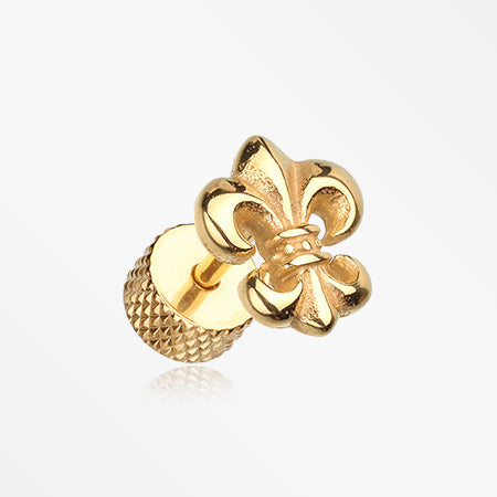 A Pair of Golden Fleur De Lis Fake Plug Earring-Gold