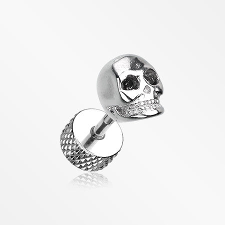 A Pair of Death Skull Steel Fake Plug Earring-Steel
