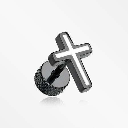 A Pair of Blackline Cross Embossed Fake Plug Earring-White