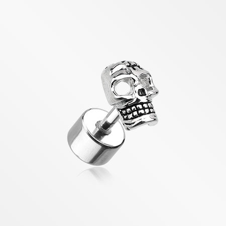 A Pair of Savage Skull Fake Plug Earring-Steel