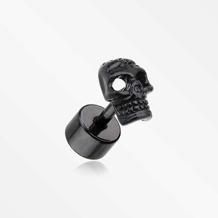 A Pair of Blackline Savage Skull Fake Plug Earring-Black