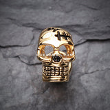 A Pair of Golden Savage Skull Fake Plug Earring-Gold