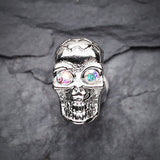 A Pair of Luster Skull Steel Fake Plug Earring-Aurora Borealis