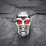 A Pair of Luster Skull Steel Fake Plug Earring-Red