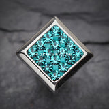 A Pair of Square Multi-Gem Sparkle Fake Plug Earring-Teal