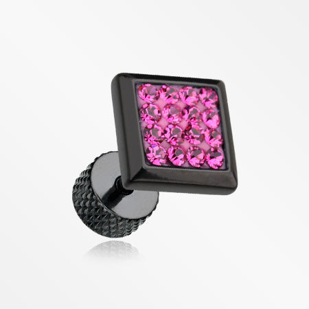 A Pair of Blackline Square Multi-Gem Sparkle Fake Plug Earring-Fuchsia