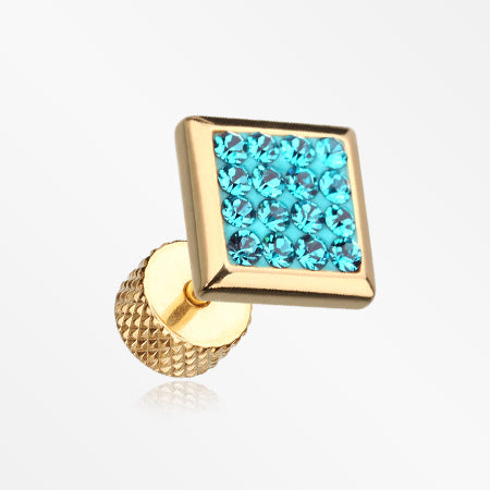 A Pair of Golden Square Multi-Gem Sparkle Fake Plug Earring-Teal