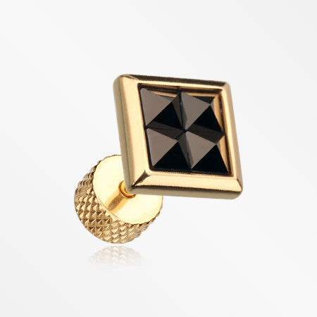 A Pair of Golden Square Tetrad Onyx Pyramid Stone Fake Plug Earring-Black