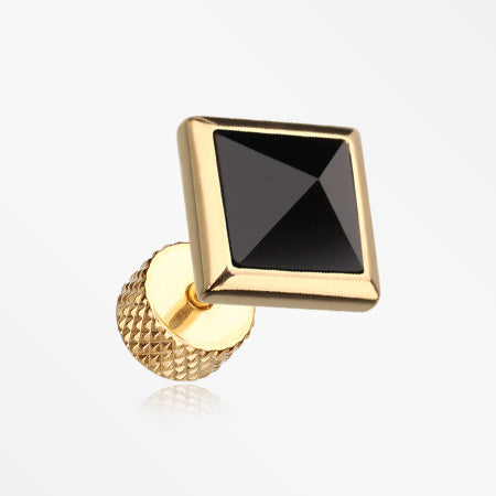 A Pair of Golden Square Onyx Pyramid Stone Fake Plug Earring-Black