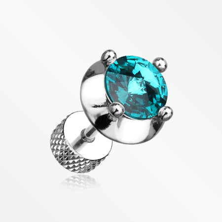 A Pair of Spacer Saucer Crystal Fake Plug Earring-Teal