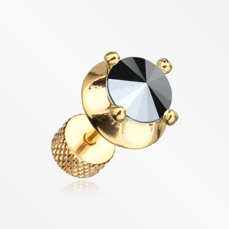 A Pair of Golden Spacer Saucer Crystal Fake Plug Earring-Hematite