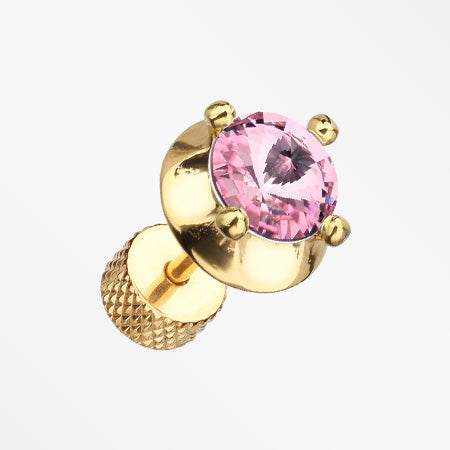 A Pair of Golden Spacer Saucer Crystal Fake Plug Earring-Pink