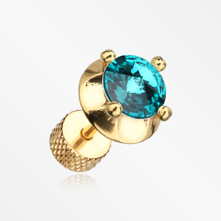 A Pair of Golden Spacer Saucer Crystal Fake Plug Earring-Teal