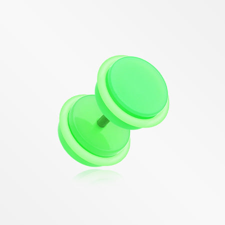 A Pair of Neon Acrylic O-Ring Faux Gauge Plug Earring-Green