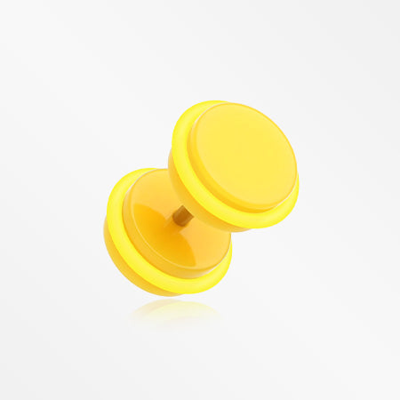 A Pair of Neon Acrylic O-Ring Faux Gauge Plug Earring-Yellow