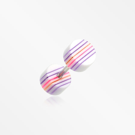 A Pair of Multi Stripe Acrylic Faux Gauge Plug Earring-White/Rainbow