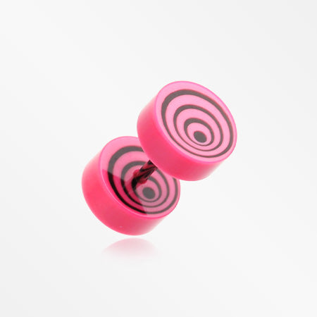 A Pair of Swirl Circles Solid Acrylic Faux Gauge Plug Earring-Pink