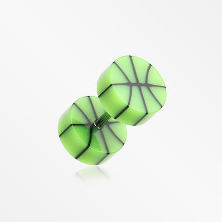 A Pair of Basketball UV Acrylic Faux Gauge Plug Earring-Green