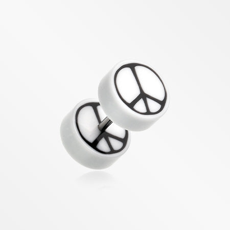 A Pair of Peace Retro UV Acrylic Faux Gauge Plug Earring-White