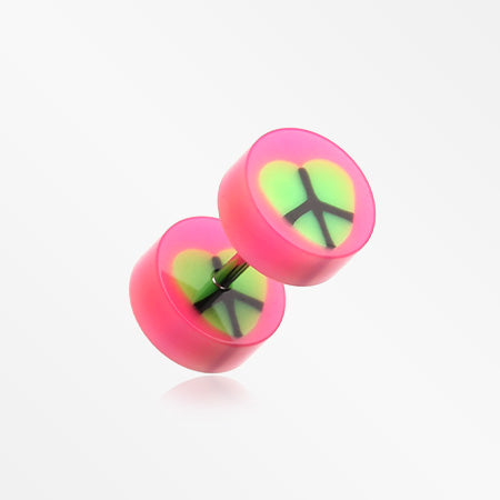 A Pair of Peace Heart UV Acrylic Faux Gauge Plug Earring-Pink