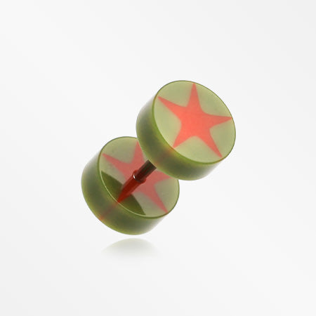 A Pair of Psych Star UV Acrylic Faux Gauge Plug Earring-Olive