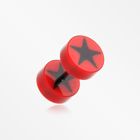 A Pair of Psych Star UV Acrylic Faux Gauge Plug Earring-Red