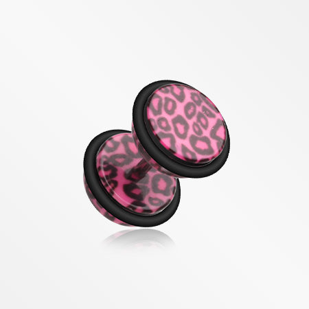 A Pair of Leopard Skin Acrylic Faux Gauge Plug Earring-Pink