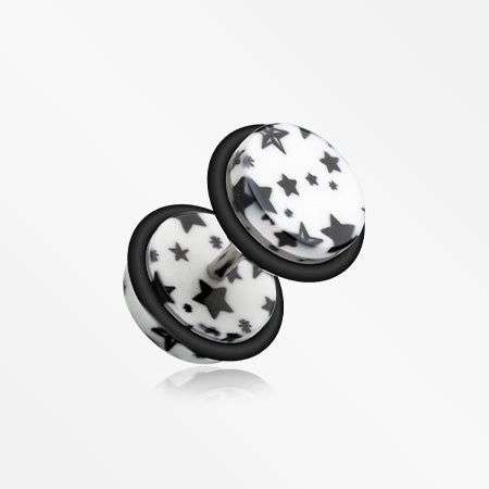 A Pair of Multi Star Print Acrylic Faux Gauge Plug Earring-White