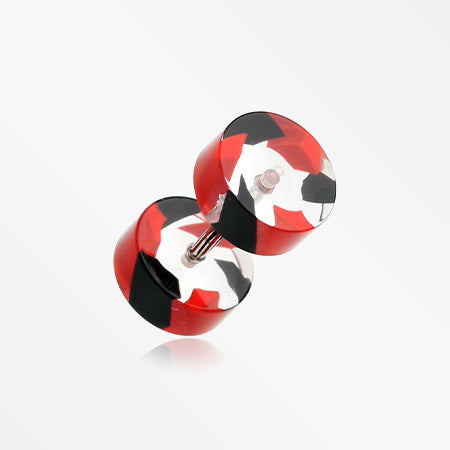 A Pair of Two Tone Stripe UV Acrylic Faux Gauge Plug Earring-Red/Black
