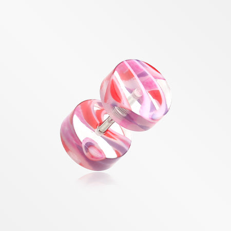 A Pair of Marble Inlay UV Acrylic Faux Gauge Plug Earring-Pink/Purple