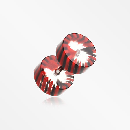 A Pair of Pinwheel Stripe UV Acrylic Faux Gauge Plug Earring-Red/Black