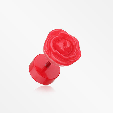 A Pair of Rose Blossom Acrylic Fake Plug Earring-Red