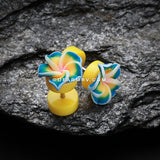 A Pair of Hawaiian Plumeria Flower Acrylic Fake Plug-Yellow