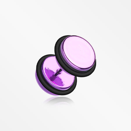 A Pair of Iridescent Metallic Coat Acrylic Fake Plug with O-Rings-Purple