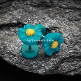 A Pair of Cutesy Daisy Flower Acrylic Fake Plug-Teal