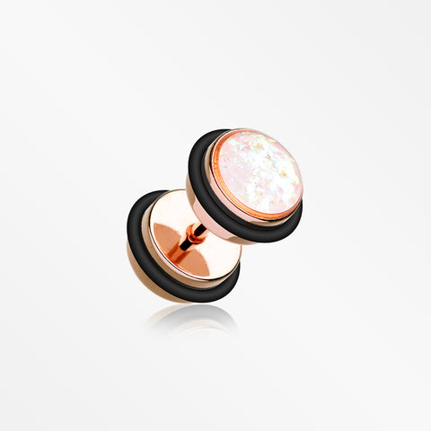 Rose Gold Opalescent Sparkle Faux Gauge Plug Earring-White