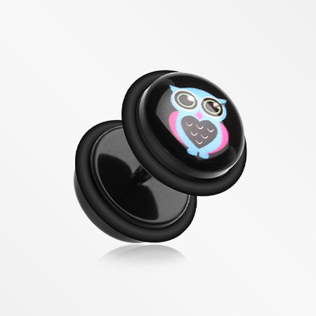 A Pair of Baby Owl Acrylic Faux Gauge Plug Earring-Black