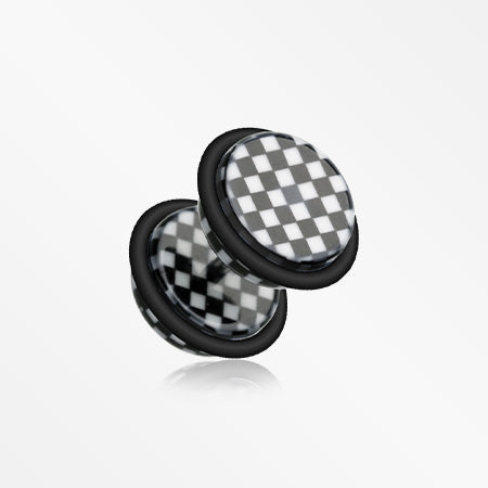 A Pair of Classic Checkered Acrylic Fake Plug with O-Rings-Black