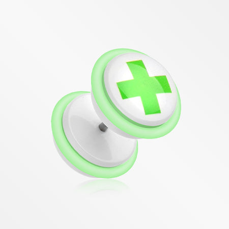 A Pair of Green Medic Cross Acrylic Faux Gauge Plug Earring-Green