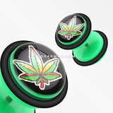 A Pair of Fresh Pot Leaf Acrylic Fake Plug with O-Rings-Green