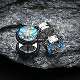 A Pair of Marine Blue Anchor Dock Steel Fake Plug with O-Rings-Blue/Aqua