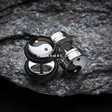 A Pair of Ying Yang Steel Fake Plug with O-Rings-Black