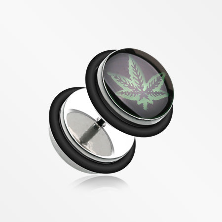 A Pair of Glow in the Dark Weed Steel Fake Plug with O-Rings-Black
