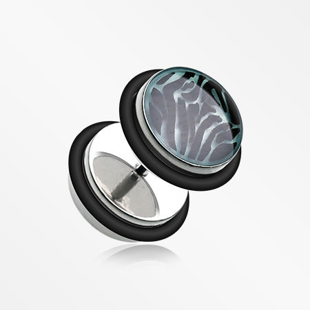 A Pair of Glow in the Dark Zebra Steel Fake Plug with O-Rings-Black