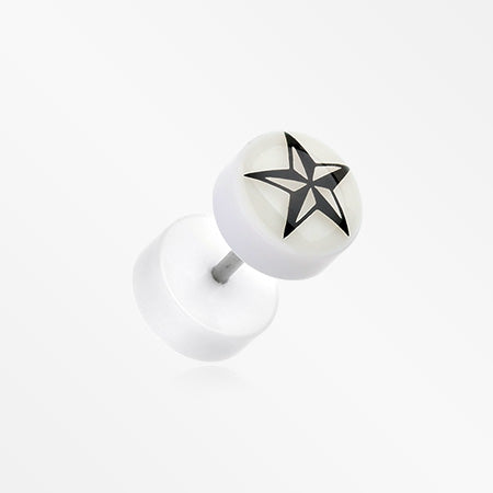 A Pair of Glow in the Dark Nautical Star Acrylic Fake Plug-Clear/White
