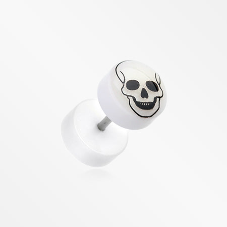A Pair of Glow in the Dark Death Skull Acrylic Fake Plug-Clear/White