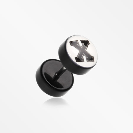 A Pair of The 'X' Acrylic Faux Gauge Plug Earring -Black