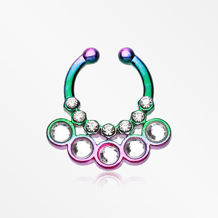 Colorline Aureole Gemina Sparkle Fake Septum Clip-On Ring-Rainbow/Clear
